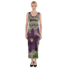 Vintage purple flowers Fitted Maxi Dress