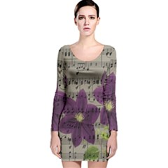 Vintage purple flowers Long Sleeve Velvet Bodycon Dress
