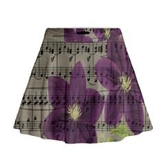 Vintage purple flowers Mini Flare Skirt