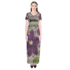Vintage purple flowers Short Sleeve Maxi Dress