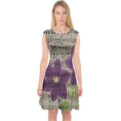 Vintage purple flowers Capsleeve Midi Dress