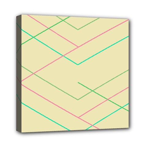 Abstract Yellow Geometric Line Pattern Mini Canvas 8  x 8