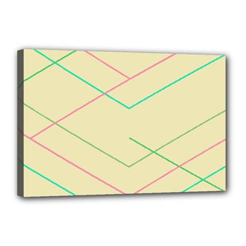 Abstract Yellow Geometric Line Pattern Canvas 18  X 12