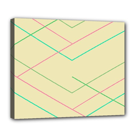 Abstract Yellow Geometric Line Pattern Deluxe Canvas 24  x 20