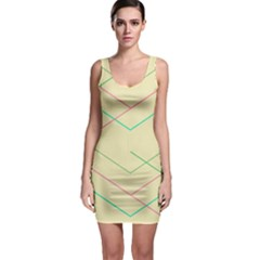 Abstract Yellow Geometric Line Pattern Sleeveless Bodycon Dress