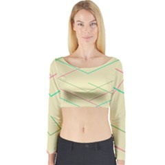 Abstract Yellow Geometric Line Pattern Long Sleeve Crop Top
