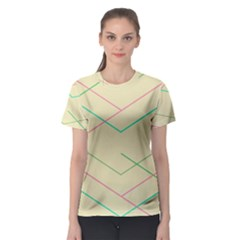 Abstract Yellow Geometric Line Pattern Women s Sport Mesh Tee