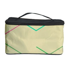 Abstract Yellow Geometric Line Pattern Cosmetic Storage Case