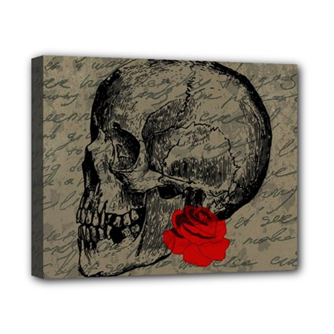 Skull and rose  Canvas 10  x 8