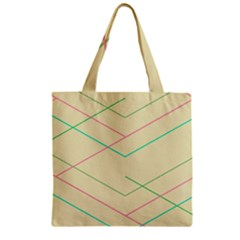 Abstract Yellow Geometric Line Pattern Zipper Grocery Tote Bag