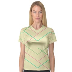 Abstract Yellow Geometric Line Pattern Women s V Neck Sport Mesh Tee