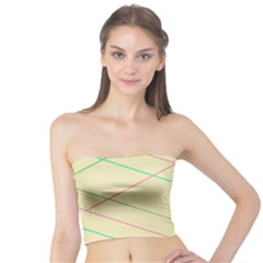 Abstract Yellow Geometric Line Pattern Tube Top