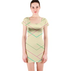 Abstract Yellow Geometric Line Pattern Short Sleeve Bodycon Dress