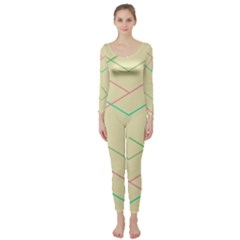 Abstract Yellow Geometric Line Pattern Long Sleeve Catsuit