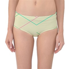 Abstract Yellow Geometric Line Pattern Mid-Waist Bikini Bottoms