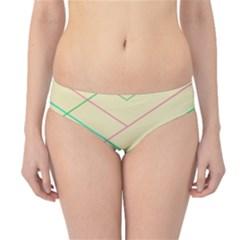 Abstract Yellow Geometric Line Pattern Hipster Bikini Bottoms
