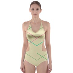 Abstract Yellow Geometric Line Pattern Cut-Out One Piece Swimsuit