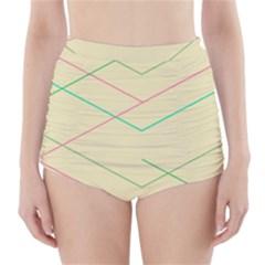 Abstract Yellow Geometric Line Pattern High Waisted Bikini Bottoms
