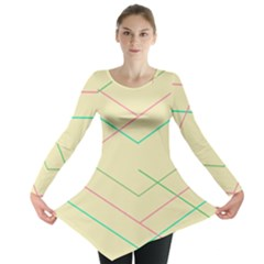 Abstract Yellow Geometric Line Pattern Long Sleeve Tunic