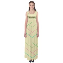 Abstract Yellow Geometric Line Pattern Empire Waist Maxi Dress