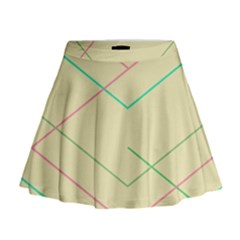 Abstract Yellow Geometric Line Pattern Mini Flare Skirt
