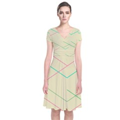 Abstract Yellow Geometric Line Pattern Short Sleeve Front Wrap Dress