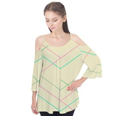 Abstract Yellow Geometric Line Pattern Flutter Tees