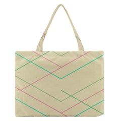 Abstract Yellow Geometric Line Pattern Medium Zipper Tote Bag