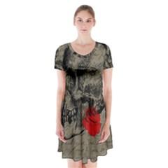 Skull and rose  Short Sleeve V-neck Flare Dress