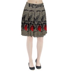 Skull and rose  Pleated Skirt