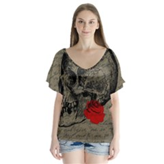 Skull and rose  Flutter Sleeve Top