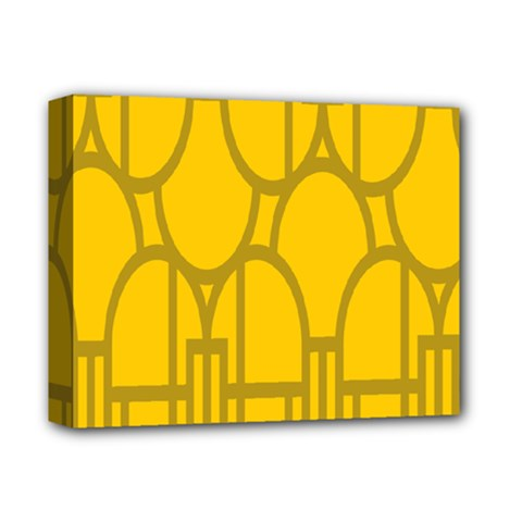 The Michigan Pattern Yellow Deluxe Canvas 14  x 11