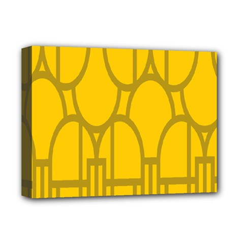The Michigan Pattern Yellow Deluxe Canvas 16  x 12
