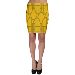 The Michigan Pattern Yellow Bodycon Skirt