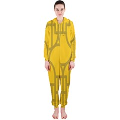 The Michigan Pattern Yellow Hooded Jumpsuit (Ladies)
