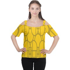 The Michigan Pattern Yellow Women s Cutout Shoulder Tee