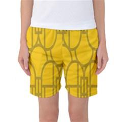 The Michigan Pattern Yellow Women s Basketball Shorts