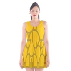 The Michigan Pattern Yellow Scoop Neck Skater Dress