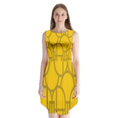 The Michigan Pattern Yellow Sleeveless Chiffon Dress