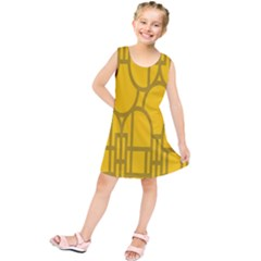 The Michigan Pattern Yellow Kids  Tunic Dress