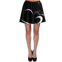 Cat Black Vector Minimalism Skater Skirt