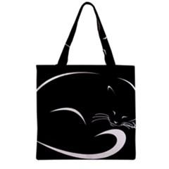 Cat Black Vector Minimalism Grocery Tote Bag