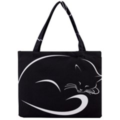 Cat Black Vector Minimalism Mini Tote Bag