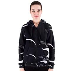 Cat Black Vector Minimalism Women s Zipper Hoodie