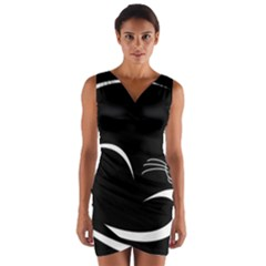 Cat Black Vector Minimalism Wrap Front Bodycon Dress