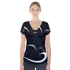 Cat Black Vector Minimalism Short Sleeve Front Detail Top