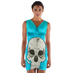 Skull Ball Line Schedule Wrap Front Bodycon Dress
