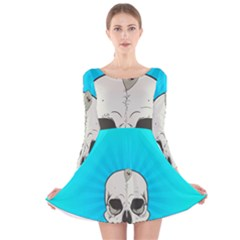 Skull Ball Line Schedule Long Sleeve Velvet Skater Dress