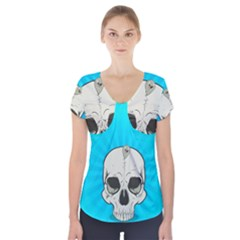 Skull Ball Line Schedule Short Sleeve Front Detail Top