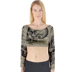 Skull Long Sleeve Crop Top